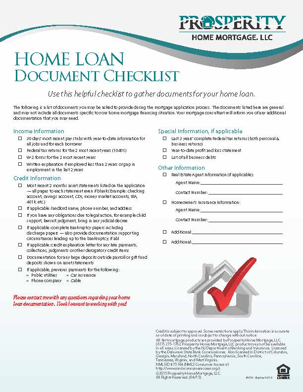 Home Loan Document Checklist Prosperity Home Mortgage LLC – Sample Loan Documents