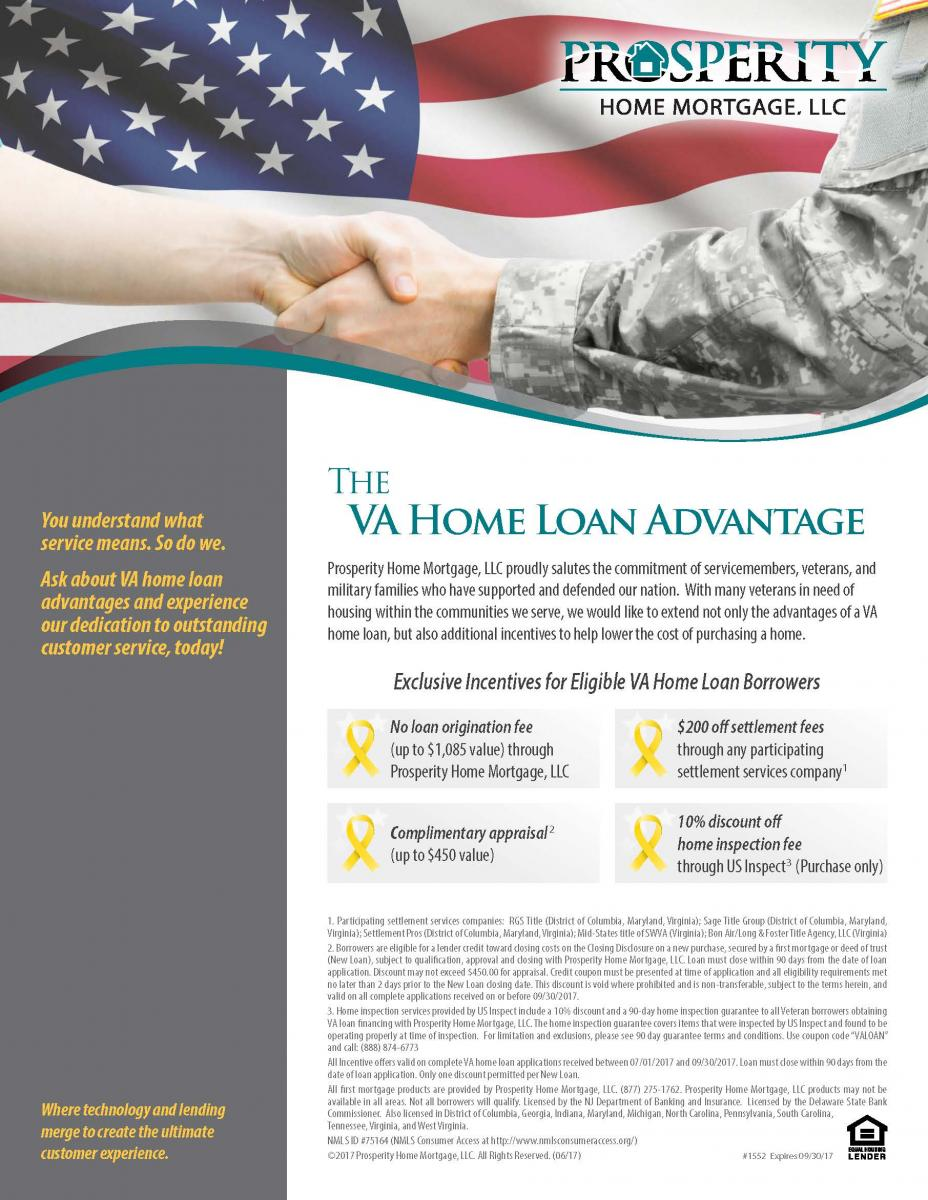 Va home loan prosperity home mortgage llc for Free mortgage flyer templates